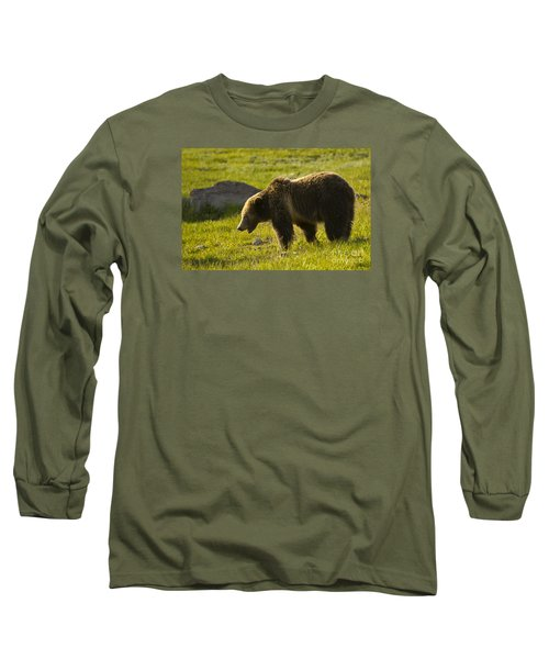 Grizzly Bear-signed-#4535 Long Sleeve T-Shirt by J L Woody Wooden