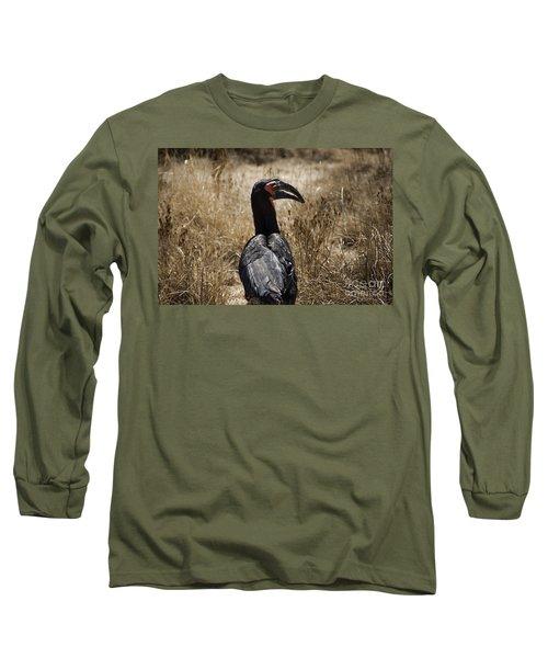 Ground Hornbill-africa Long Sleeve T-Shirt by Douglas Barnard