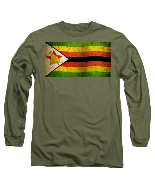 Grunge Zimbabwe Flag Long Sleeve T-Shirt