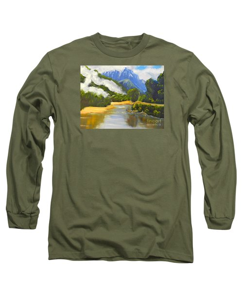 Long Sleeve T-Shirt featuring the painting Haast River New Zealand by Pamela  Meredith
