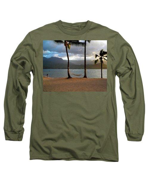 Hammock At Hanalei Bay Long Sleeve T-Shirt by James Eddy