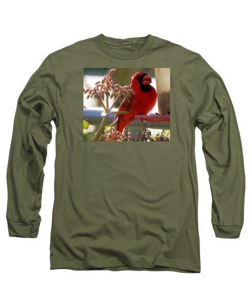 Handsome Red Male Cardinal Visiting Long Sleeve T-Shirt