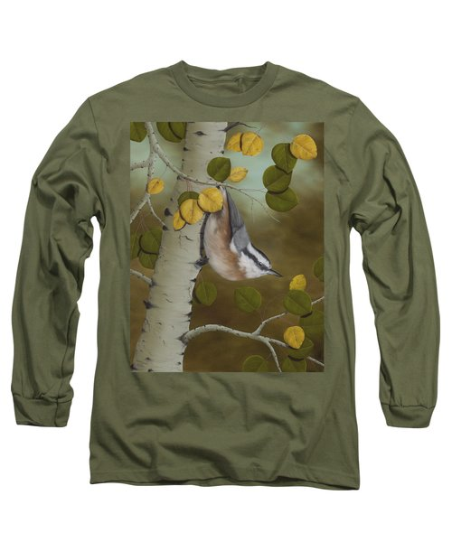 Hanging Around-red Breasted Nuthatch Long Sleeve T-Shirt