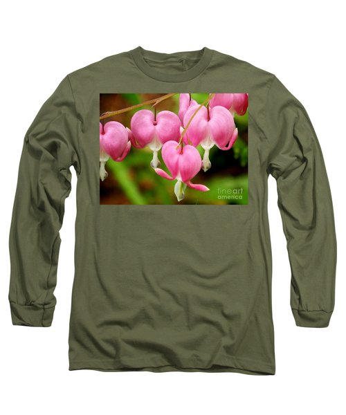 Hanging Hearts In Pink And White Long Sleeve T-Shirt by Eunice Miller