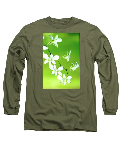 Hanging White Orchids Long Sleeve T-Shirt by Lehua Pekelo-Stearns