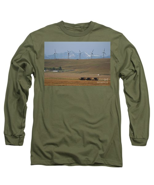 Long Sleeve T-Shirt featuring the photograph Harvesting Wind And Grain by Ann E Robson