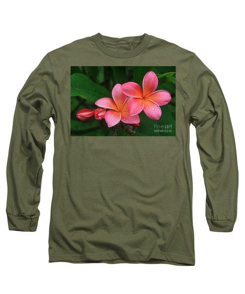 He Pua Laha Ole Hau Oli Hau Oli Oli Pua Melia Hae Maui Hawaii Tropical Plumeria Long Sleeve T-Shirt