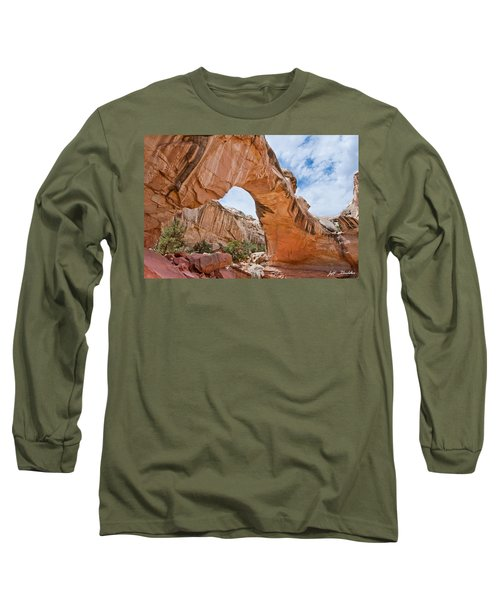 Hickman Bridge Natural Arch Long Sleeve T-Shirt by Jeff Goulden