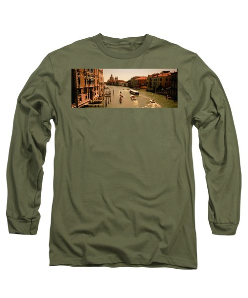 High Angle View Of Boats In Water Long Sleeve T-Shirt