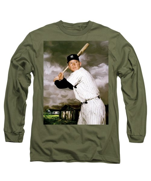 American Fabric   Mickey Mantle Long Sleeve T-Shirt by Iconic Images Art Gallery David Pucciarelli