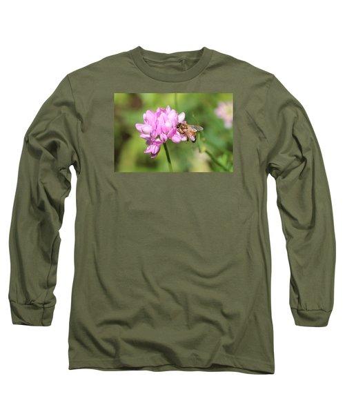 Honeybee On Crown Vetch Long Sleeve T-Shirt by Lucinda VanVleck