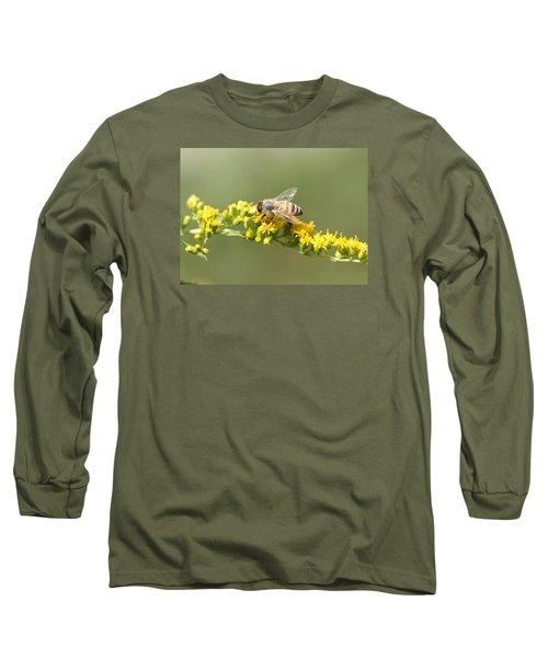 Honeybee On Goldenrod Twig Long Sleeve T-Shirt