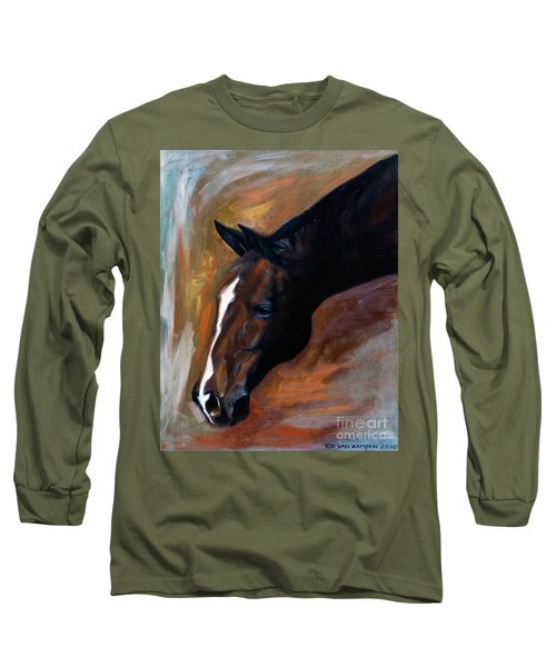 Long Sleeve T-Shirt featuring the painting horse - Apple copper by Go Van Kampen