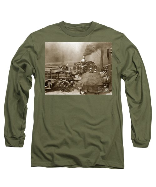 Horse Drawn Water Steam Pumper Fire Truck Circa 1906 Long Sleeve T-Shirt