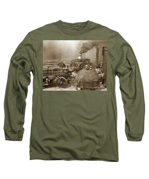 Horse Drawn Water Steam Pumper Fire Truck Circa 1906 Long Sleeve T-Shirt