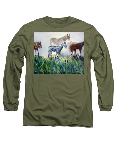 Horses In The Fog Long Sleeve T-Shirt