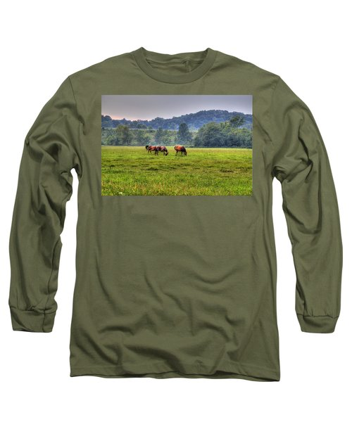 Long Sleeve T-Shirt featuring the photograph Horses In A Field 2 by Jonny D