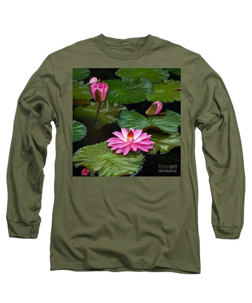 Hot Pink And Green Tropical Waterlilies Long Sleeve T-Shirt