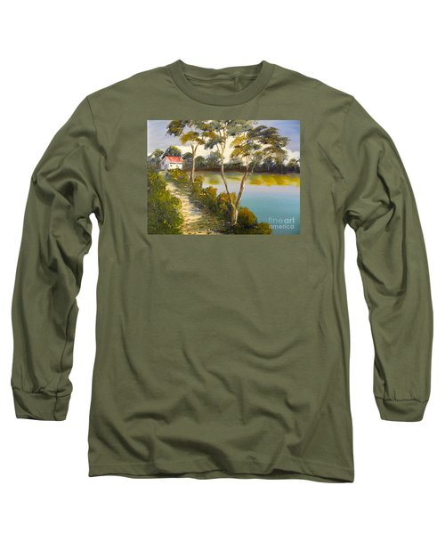 House By The Lake Long Sleeve T-Shirt by Pamela  Meredith