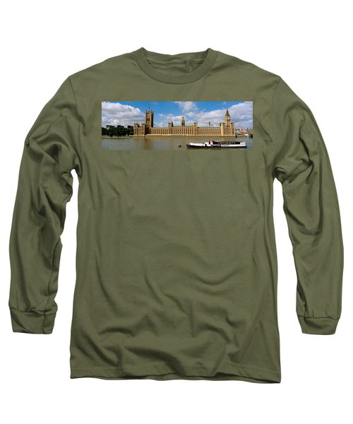 Houses Of Parliament, Water And Boat Long Sleeve T-Shirt