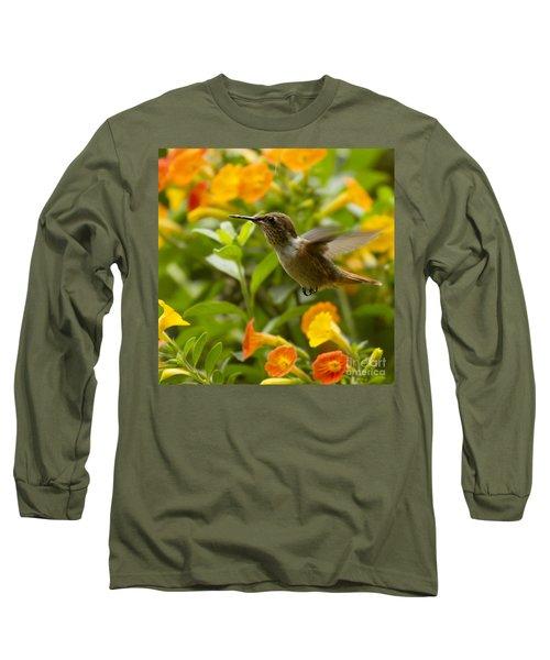 Hummingbird Looking For Food Long Sleeve T-Shirt