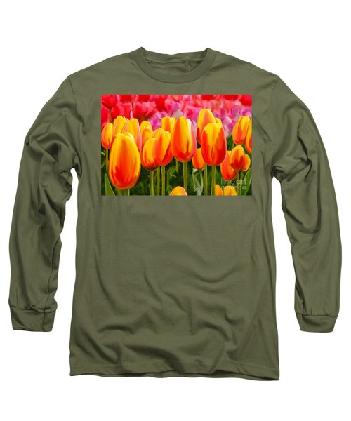 Long Sleeve T-Shirt featuring the painting Hybrid Tulips by Tim Gilliland