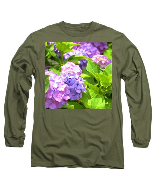 Hydrangeas In The Sun Long Sleeve T-Shirt by Rachel Mirror