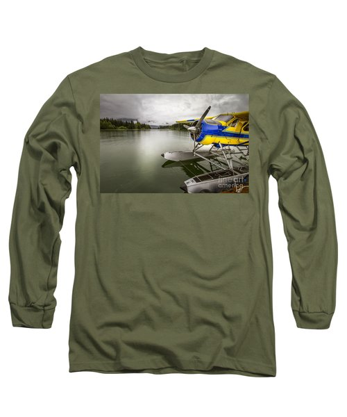 Idle Float Plane At Juneau Airport Long Sleeve T-Shirt by Darcy Michaelchuk