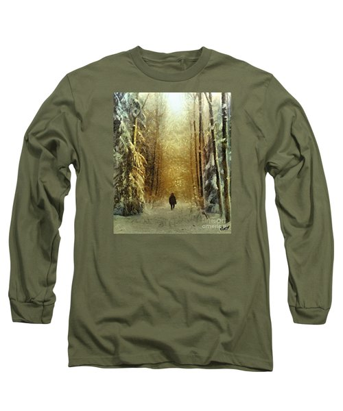 Long Sleeve T-Shirt featuring the painting I'll Be Home For Christmas by Dragica  Micki Fortuna