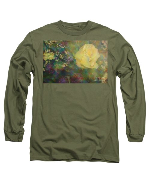 Long Sleeve T-Shirt featuring the photograph Impressionistic Yellow Rose by Dora Sofia Caputo Photographic Art and Design