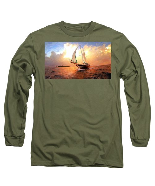In Full Sail - Oil Painting Edition Long Sleeve T-Shirt by Lilia D