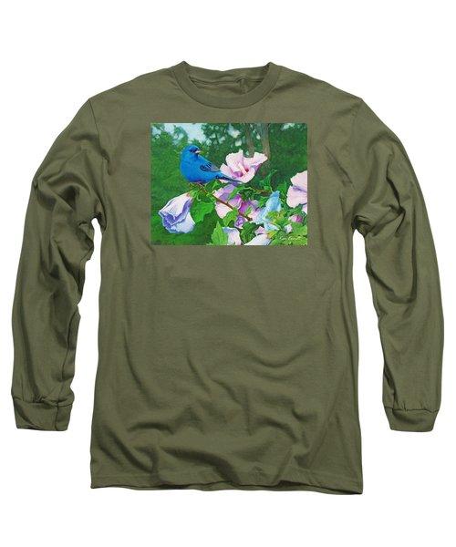 Indigo Bunting  Long Sleeve T-Shirt by Ken Everett
