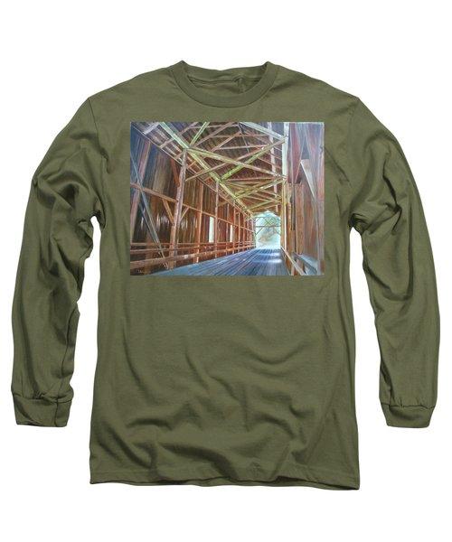 Inside Felton Covered Bridge Long Sleeve T-Shirt by LaVonne Hand