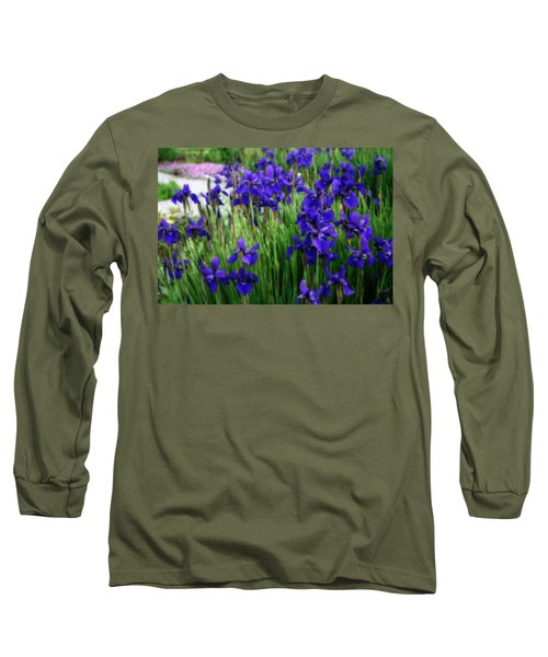 Long Sleeve T-Shirt featuring the photograph Iris In The Field by Kay Novy