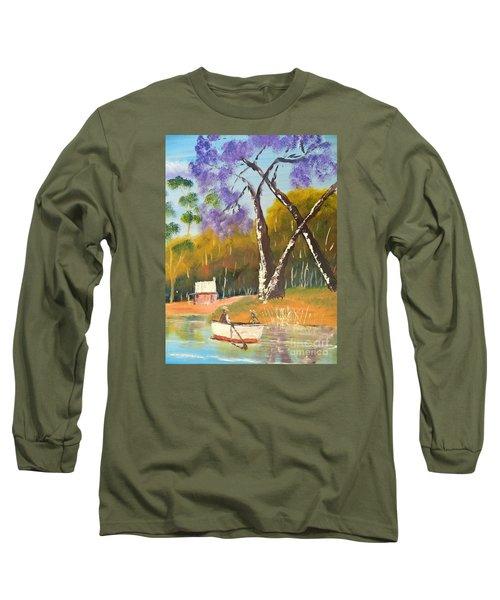 Long Sleeve T-Shirt featuring the painting Jacaranda Tree by Pamela  Meredith