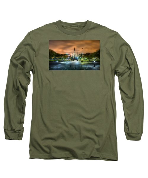 Long Sleeve T-Shirt featuring the photograph Jackson Square At Night by Tim Stanley