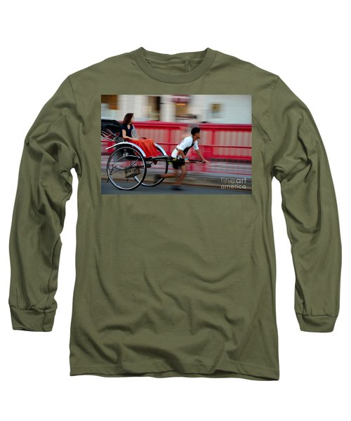 Japanese Tourists Ride Rickshaw In Tokyo Japan Long Sleeve T-Shirt by Imran Ahmed