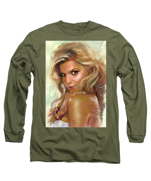 Long Sleeve T-Shirt featuring the drawing Jessica Simpson by Viola El