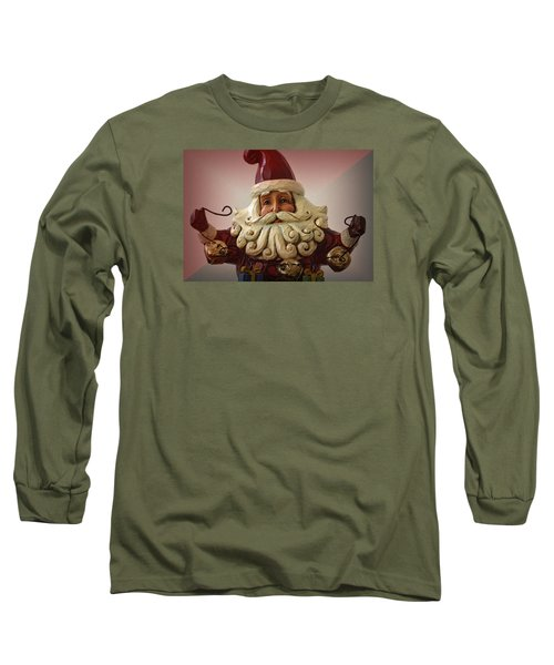 Jingle Bell Santa Long Sleeve T-Shirt by Nadalyn Larsen