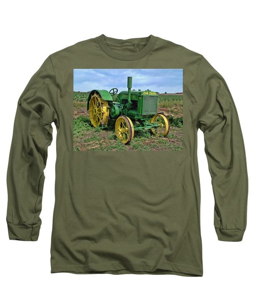 John Deere Tractor Hdr Long Sleeve T-Shirt by Ken Smith