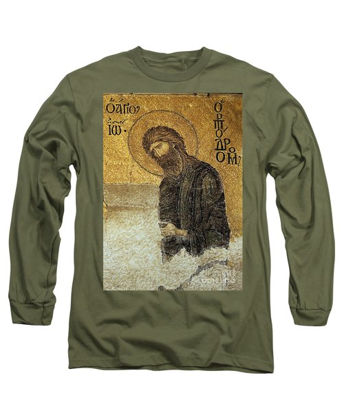 John The Baptist-detail Of Deesis Mosaic  Hagia Sophia-judgement Day Long Sleeve T-Shirt
