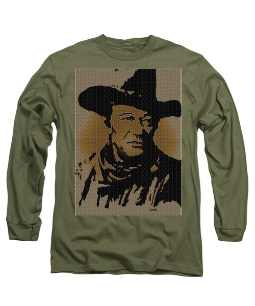John Wayne Lives Long Sleeve T-Shirt by Robert Margetts
