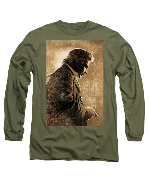 Johnny Cash Artwork Long Sleeve T-Shirt by Sheraz A