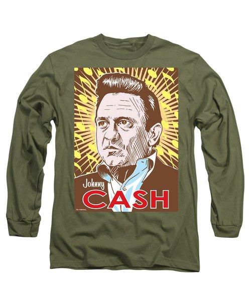 Johnny Cash Pop Art Long Sleeve T-Shirt by Jim Zahniser