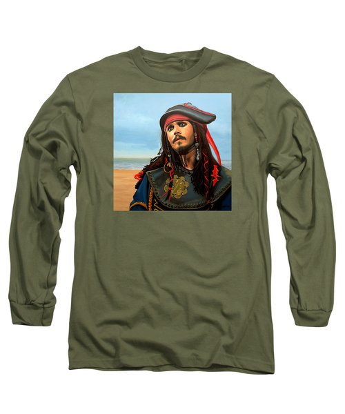 Johnny Depp As Jack Sparrow Long Sleeve T-Shirt by Paul Meijering