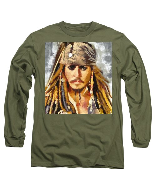 Johnny Depp Jack Sparrow Actor Long Sleeve T-Shirt by Georgi Dimitrov