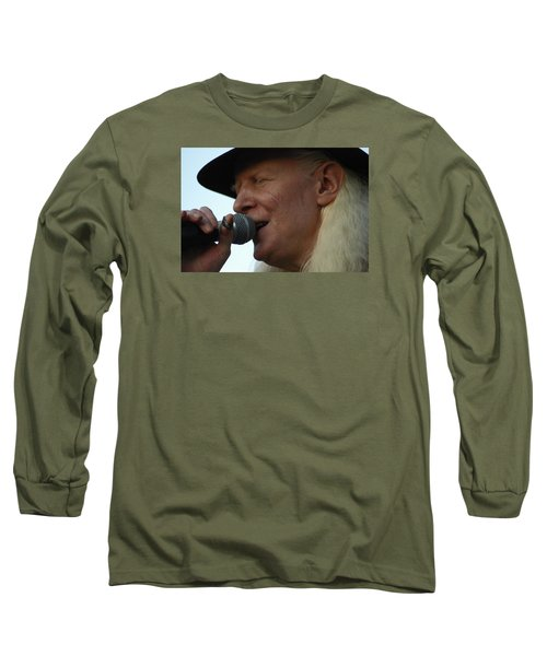 Long Sleeve T-Shirt featuring the photograph Johnny Winter Sings by Mike Martin
