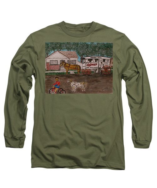 Johnsons Milk Wagon Pulled By A Horse  Long Sleeve T-Shirt by Kathy Marrs Chandler