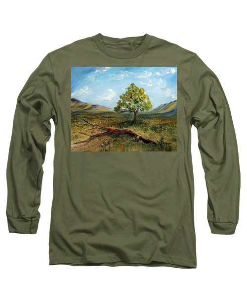 Long Sleeve T-Shirt featuring the painting Jubilant Fields by Meaghan Troup