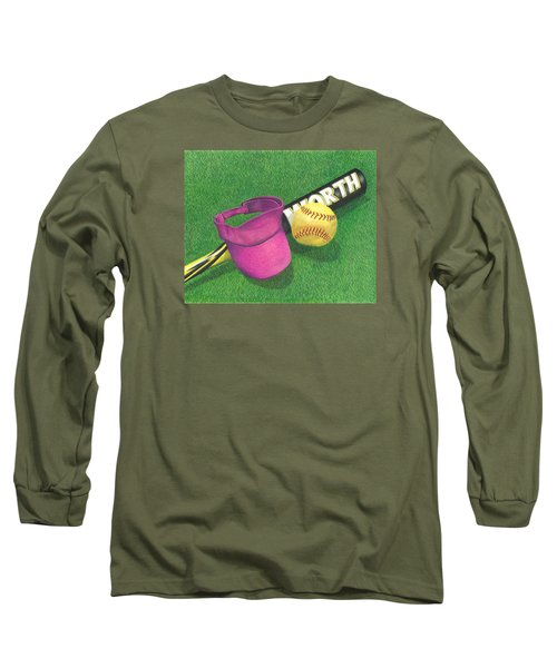 Long Sleeve T-Shirt featuring the drawing Julia's Game by Troy Levesque